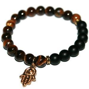 Tiger Eye & Onyx Hamsa Hand Bracelet